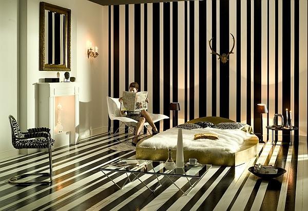 Pomysł na odważną sypialnię w czerni i bieli